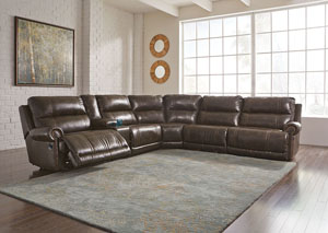 Dak DuraBlend Antique Left Facing Sectional w/ Console and Right Facing Wall Recliner