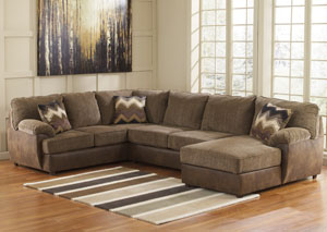 Cladio Hickory Right Arm Facing Chaise End Sectional,Benchcraft