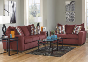 Brogain Burgundy Sofa & Loveseat