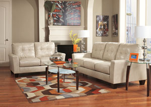 Paulie DuraBlend Taupe Sofa & Loveseat,Benchcraft