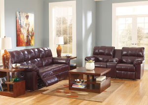 Kennard Burgundy Reclining Power Sofa & Loveseat