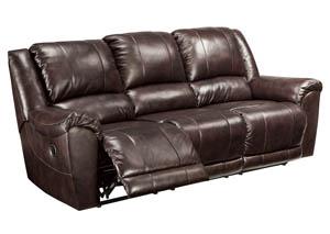 Yancy Walnut Reclining Sofa,Signature Design by Ashley