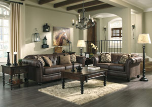 Longdon Place Espresso Sofa & Loveseat