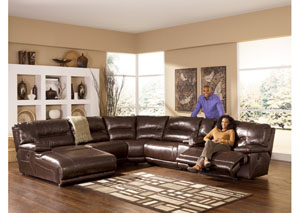 Exhilaration Chocolate Left Side Facing Chaise Reclining Sectional