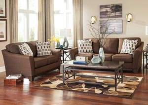 Janley Chocolate Sofa & Loveseat,Benchcraft