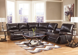 Capote DuraBlend Chocolate Right Facing Reclining Power Sectional