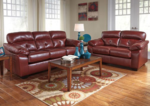 Bastrop DuraBlend Crimson Sofa & Loveseat