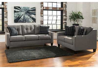 Brindon Charcoal Sofa and Loveseat