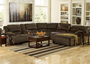 Toletta Chocolate Right Facing Chaise End Reclining Sectional w/ Storage Console