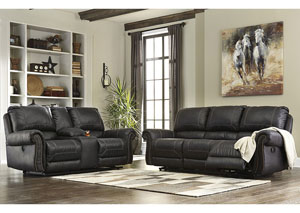 Milhaven Navy Reclining Sofa and Loveseat w/Console,Signature Design by Ashley