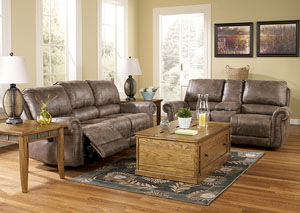 Oberson Gunsmoke Reclining Power Sofa & Loveseat,Signature Design by Ashley