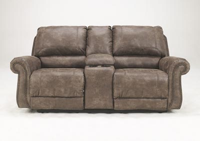Oberson Gunsmoke Double Reclining Loveseat w/ Console,Signature Design by Ashley
