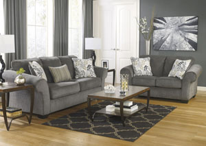 Furniture Liquidators Home Center Makonnen Charcoal Sofa Loveseat