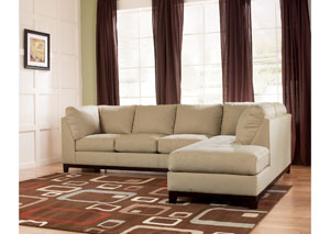 Fusion Khaki Right Facing Chaise Sectional