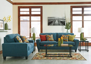 Sagen Teal Sofa & Loveseat,Signature Design by Ashley
