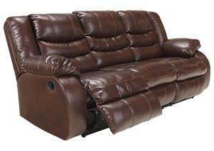 Linebacker DuraBlend Espresso Reclining Sofa,Benchcraft
