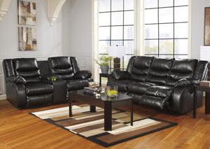 Linebacker DuraBlend Black Reclining Sofa & Loveseat,Benchcraft
