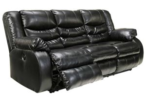 Linebacker DuraBlend Black Reclining Sofa,Benchcraft