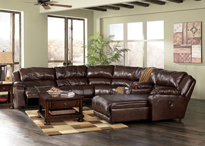 Braxton Java Right Facing Chaise End Extended Reclining Sectional,Millennium