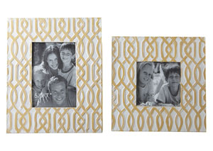Baina Yellow/White Photo Frame (Set of 2)