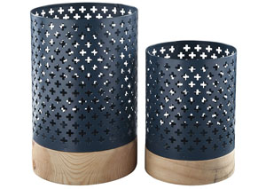 Daichi Navy/Natural Candle Holder (Set of 2)
