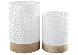 Daichi White/Natural Candle Holder (Set of 2)