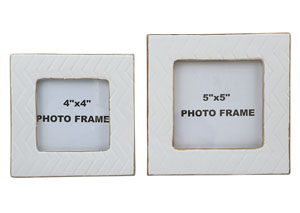 Kaelem Antique White Photo Frame (Set of 2)