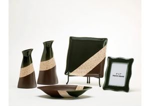 Green, Cream & Brown Elita 5-Piece Accessory Set