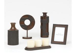 Antique Copper & Wood Oriel 5-Piece Accessory Set