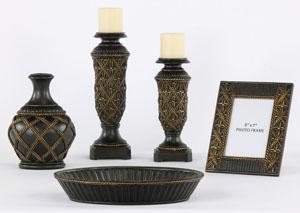 Redella Bronze & Antique Gold 5 Piece Accessory Set