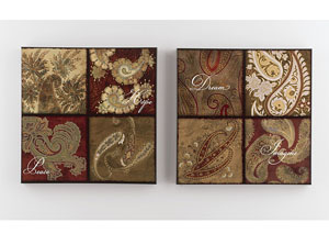 Red/Gold/Brown/Green Annice Wall Art Set (Set of 2)