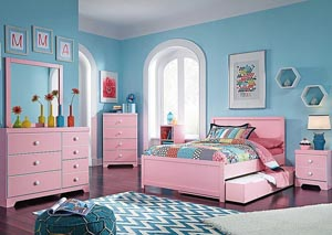 Bronett Full Panel Trundle Bed, Dresser & Mirror