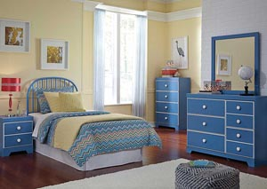 Bronilly Twin Metal Headboard, Dresser & Mirror