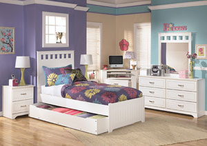 Lulu Twin Panel Bed w/ Storage, Dresser & Mirror