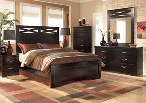 X-cess Queen Panel Bed, Dresser, Mirror & Chest,Signature Design by Ashley