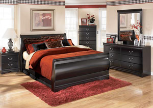 Huey Vineyard Queen Sleigh Bed, Dresser & Mirror