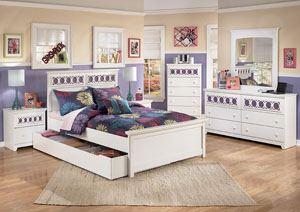 Zayley Full Panel Bed w/ Storage, Dresser & Mirror