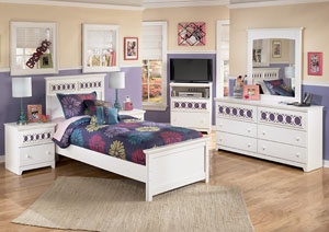 Zayley Twin Panel Bed, Dresser, Mirror, Chest & Night Stand