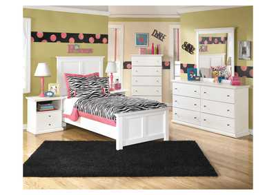 Bostwick Shoals Twin Panel Bed, Dresser, Mirror & Chest