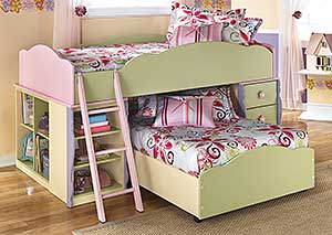 Doll House Twin Loft Over Twin Bed