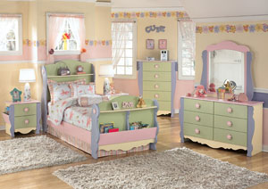 Doll House Twin Sleigh Bed, Dresser, Mirror & Chest