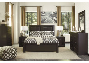 Tadlyn Dark Brown Upholstered Queen Panel Bed w/ Dresser, Mirror and Nightstand,Signature Design by Ashley