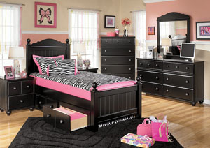Jaidyn Twin Poster Bed w/ Storage, Dresser & Mirror