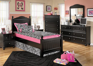 Jaidyn Twin Poster Bed, Dresser, Mirror & Chest