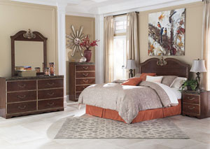 Naralyn Reddish Brown Queen Panel Bed w/ Dresser and Mirror