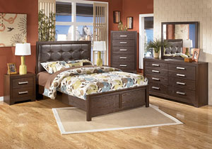 Aleydis Queen Upholstered Platform Bed, Dresser, Mirror & Night Stand