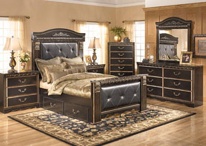 Coal Creek King Mansion Storage Bed, Dresser, Mirror & Chest