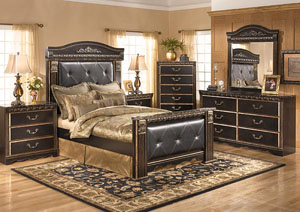 Coal Creek King Mansion Bed, Dresser, Mirror & Chest