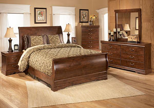 Wilmington Queen Sleigh Bed, Dresser, Mirror, Chest & Night Stand,Signature Design by Ashley