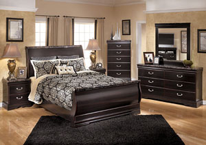 Esmarelda Queen Sleigh Bed, Dresser, Mirror & Chest
